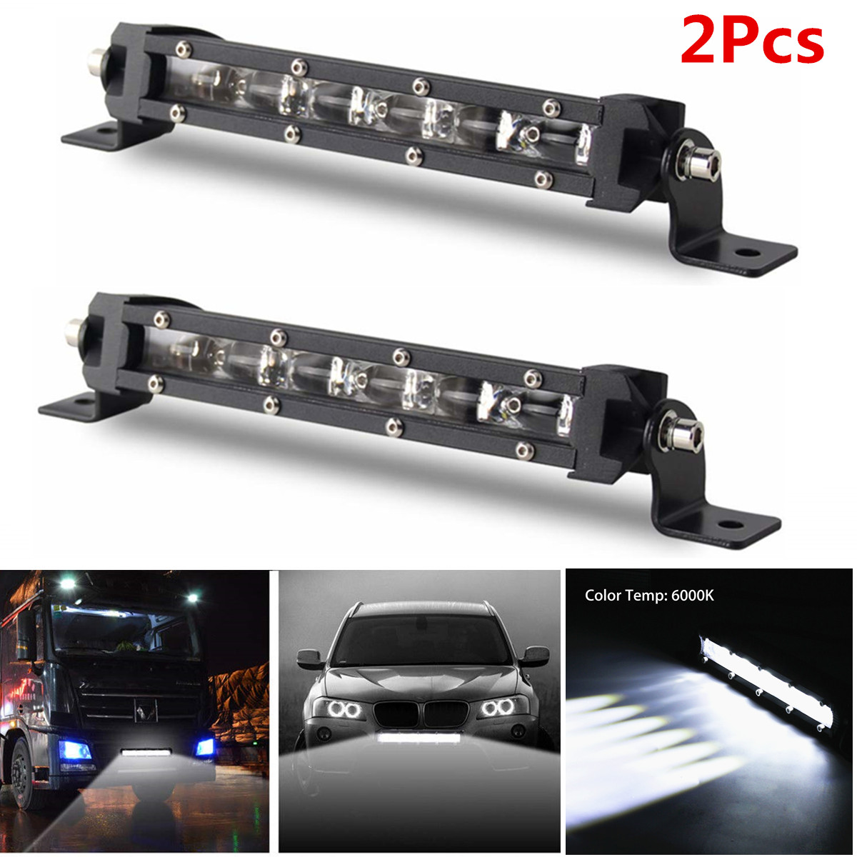 Cabin 1pc Led Light Bar 8inch 30W Single Row Driving Light LEDs 6D Lamp Cup Fog lights for Car,off road Boat SUV Truck Atv