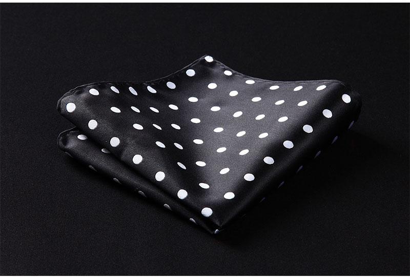 HD704L Black White Dot Men 100/% Silk Party Handkerchief Pocket Square Hanky