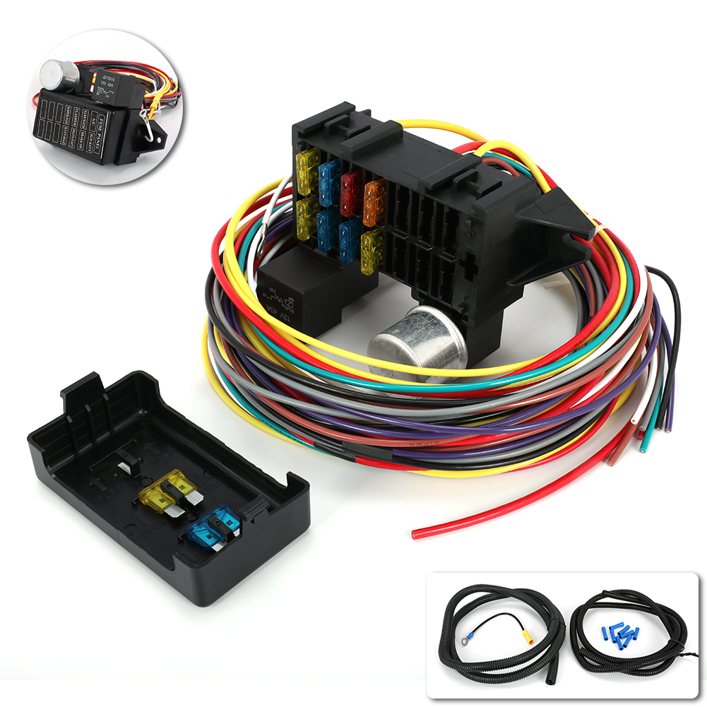 12V Universal 12 Circuit Wiring Harness Muscle Car Hot Rod Street Rod Wires Kit