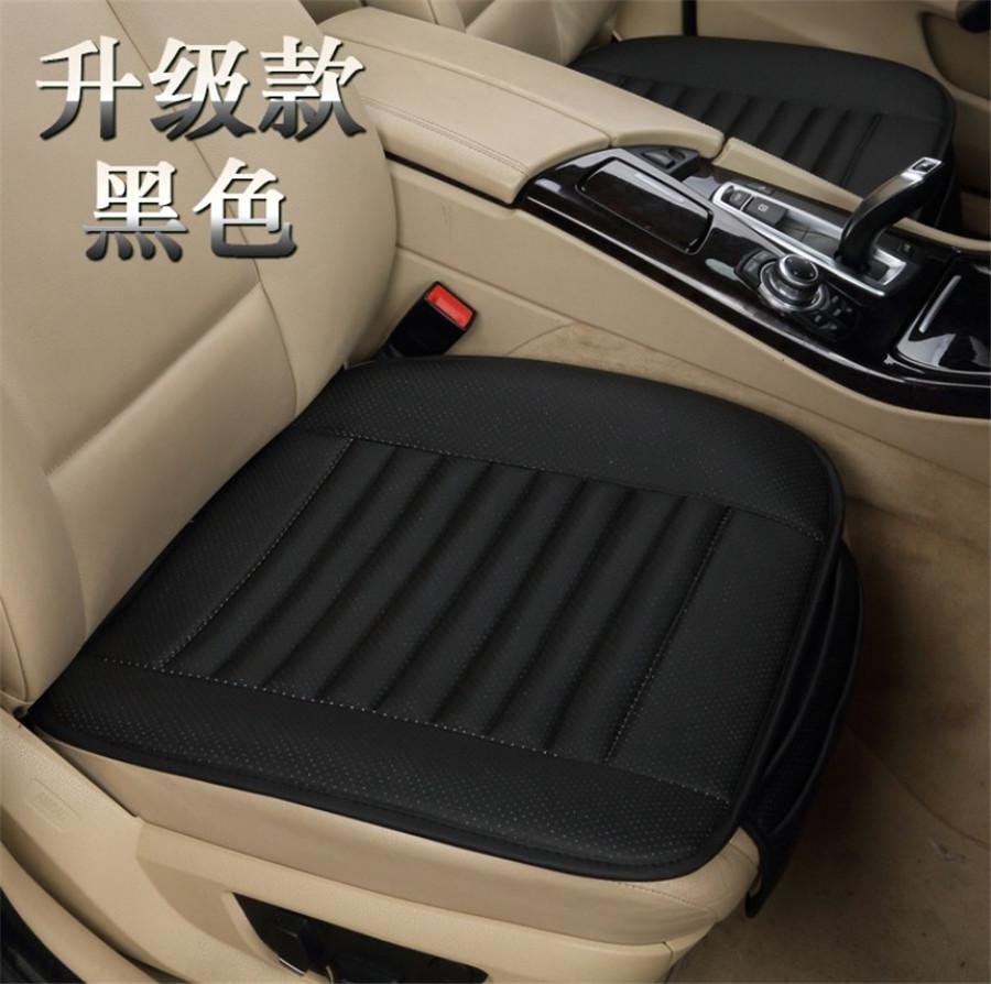 Black Leather SUV Car Seat Cushion Sedan Limo Chair Cover Protector Universal 3x
