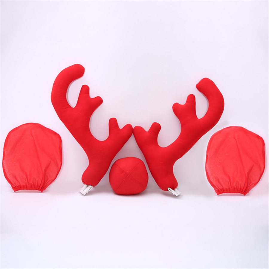 Car Christmas Decor Accessories Funny/& Cute 2Pcs Reindeer Antlers+Red Nose+Bells