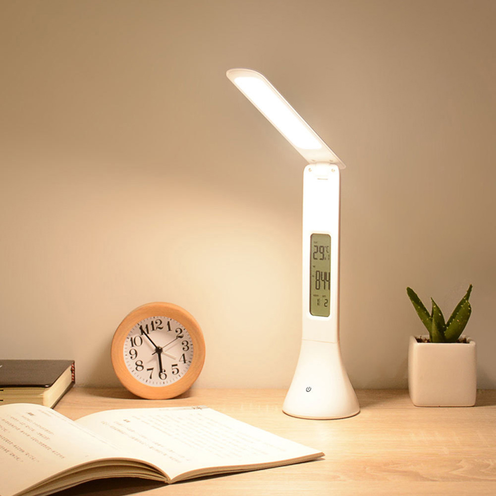 NEW Mini LED Desk Lamp Light Rechargeable with Digital Clock Touch Dimmable UK