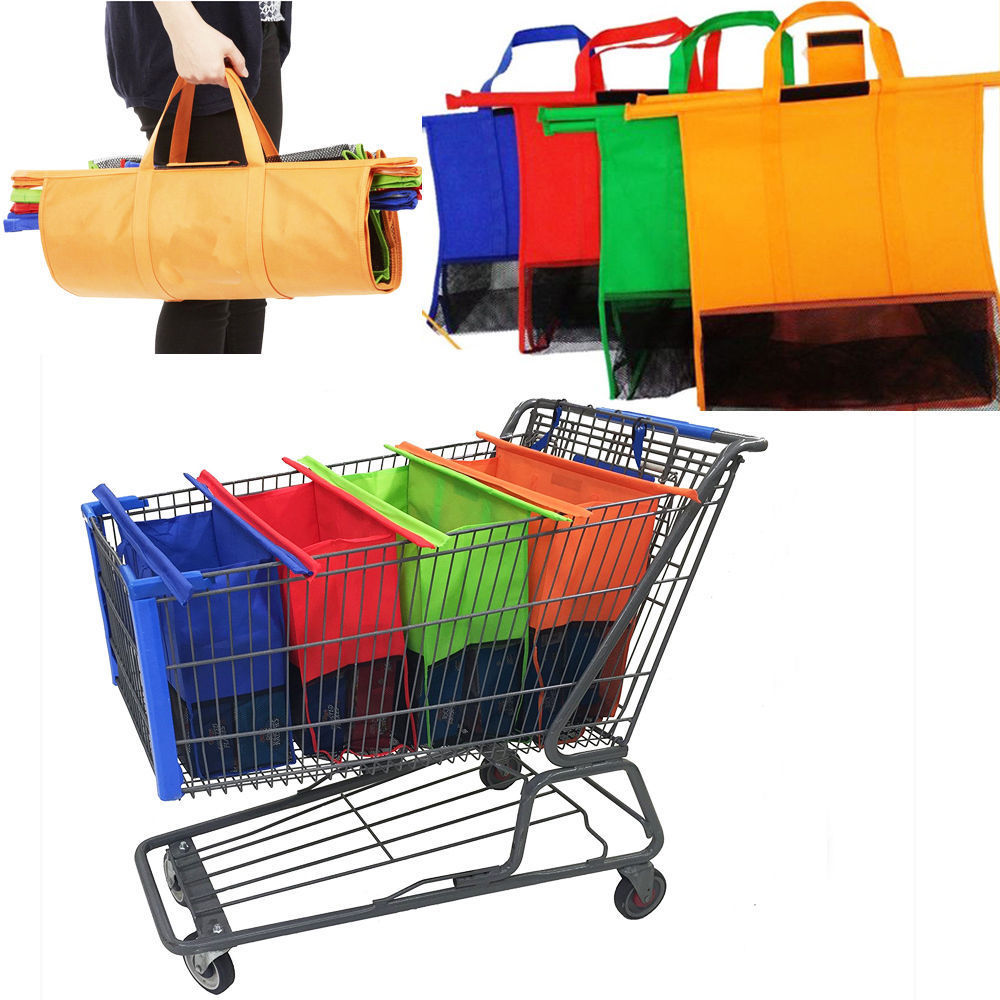 1Set of 4 Bags Reusable Clip-to-Cart Shopping Bags Eco Grocery ...