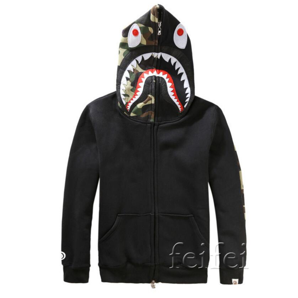 Bape Ape Jacket Shark Head Camo Full Zip Hoodie Cotton