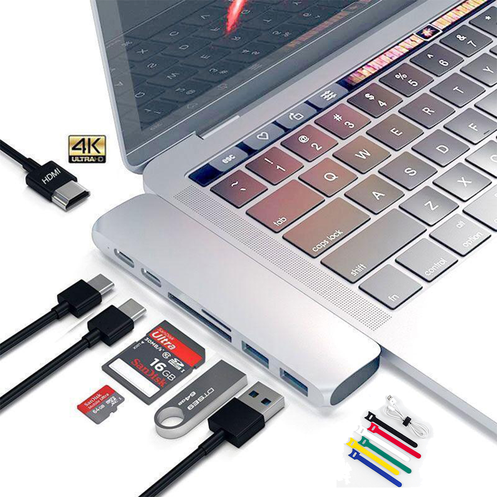 For MacBook Pro Lot 7in1 USB-C Hub Dual TypeC Multiport Adapter HDMI Card Reader