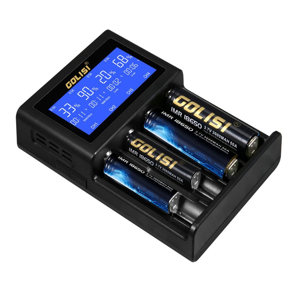 Practical 4 Slots Lcd Rechargeable Battery Charger For Aa Aaa Ni All Types Mh Cd Tool