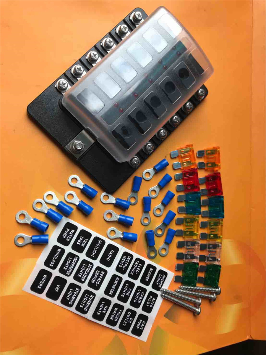 12 Way Blade Fuse Box Holder Car Blades Terminal Connectors Toyota Carina E Location Stickers Screws