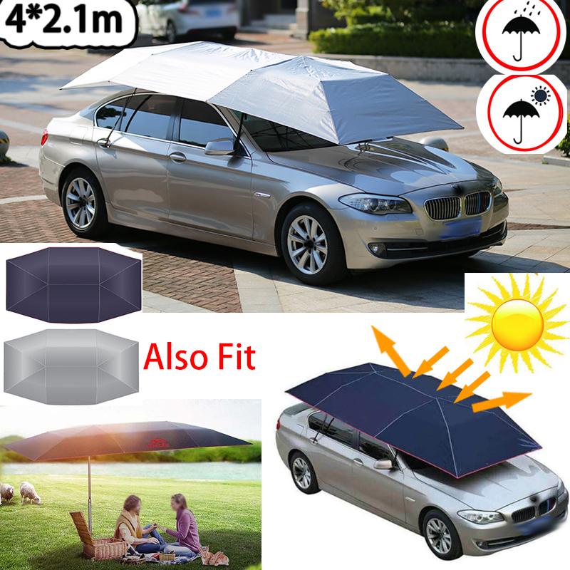 Universal Car Umbrella Sun Shade Cover Tent Cloth 4x2 1m Navy