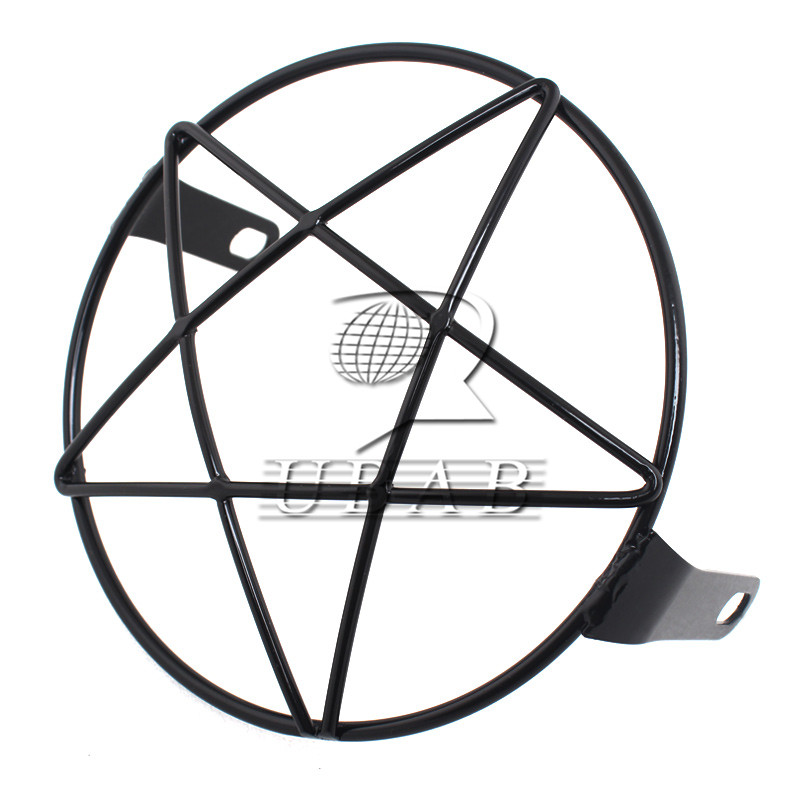 6 3 16cm Motorcycle Metal Grill Pentagram Star Side Mount Headlight