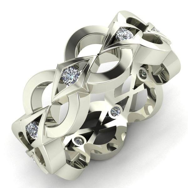 925 Silver White Topaz Ensemble Infinity Fashion Jewelry Femmes Anneau Mariage SZ 5-10
