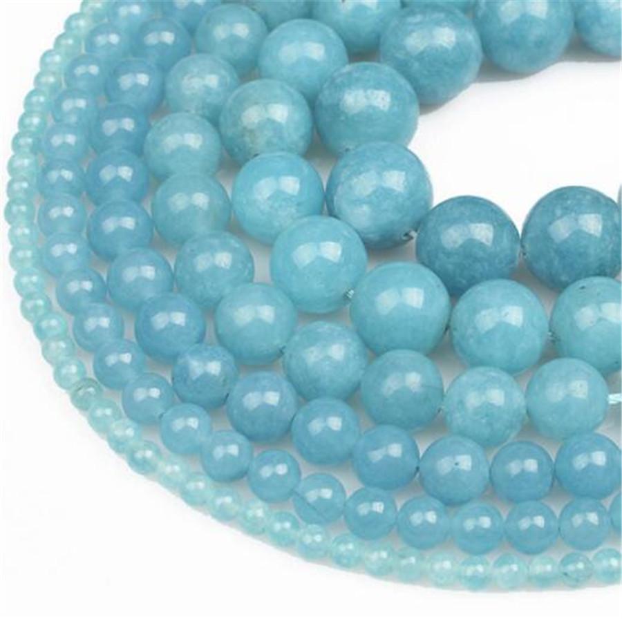 "Wholesale 4-14mm brazilian Aquamarine Round Gemstone Loose Bead 15 /"""