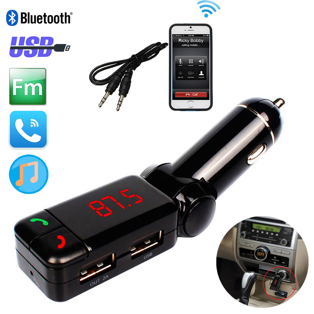 Bluetooth Link Car Kit With Aux In Interface Usb Charger: Glamor LCD Bluetooth Car Set FM Transmitter MP3 USB