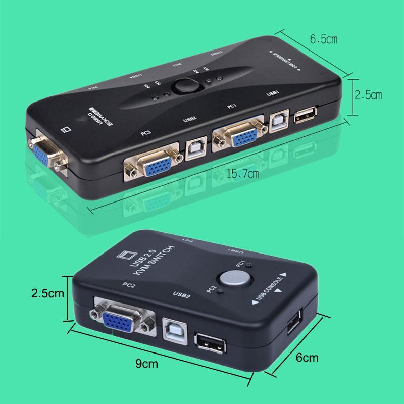 KVM Switch Box VGA 2//4 Port USB 2.0 Plus USB Cables For Computer Sharing Monitor