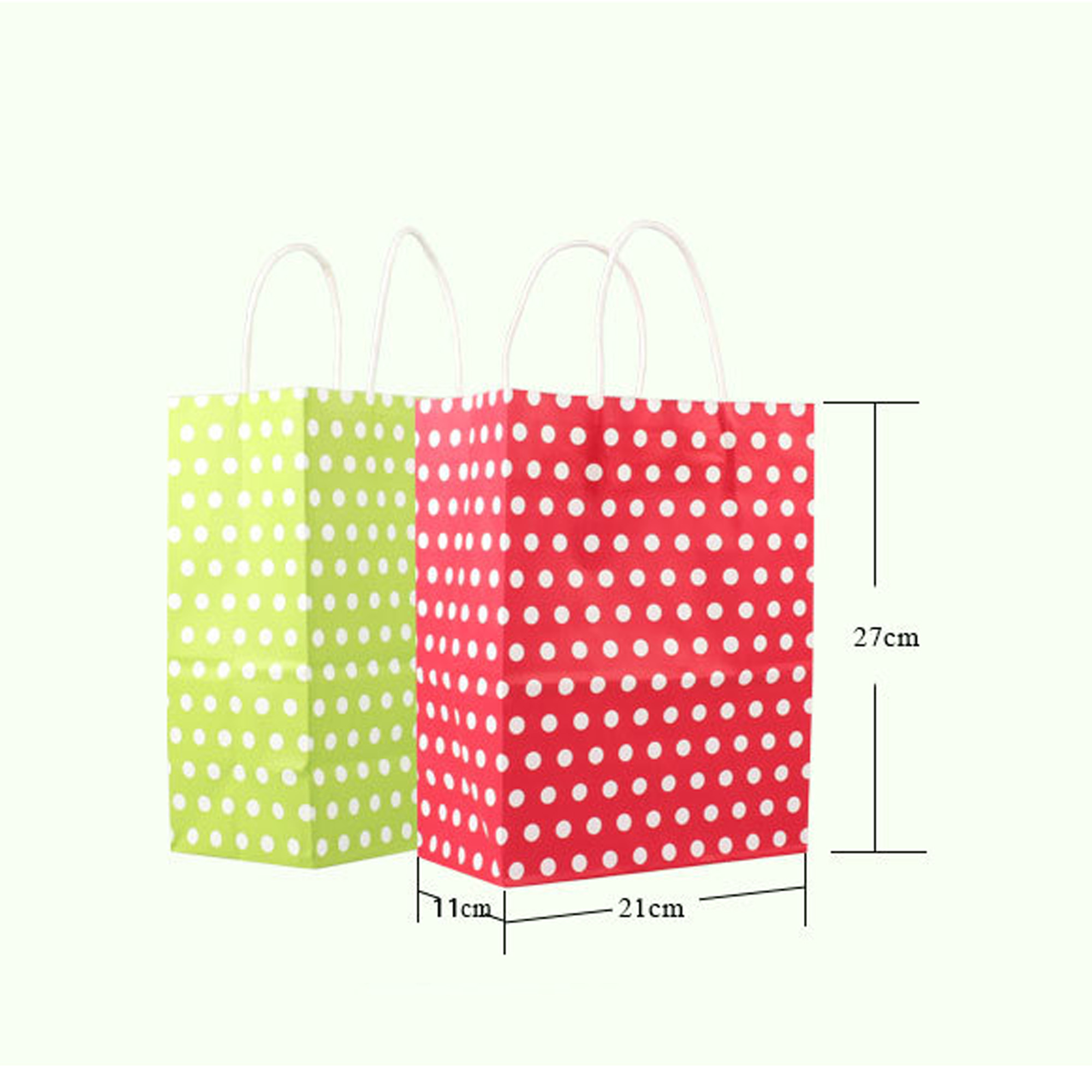 Variety Of Colors For 12pcs Polka Dot Paper Kraft Christmas Gift Ping Bags