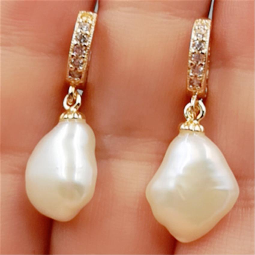 14-18mm White Baroque Pearl Earrings 18k Ear Stud Wedding Earbob Flawless
