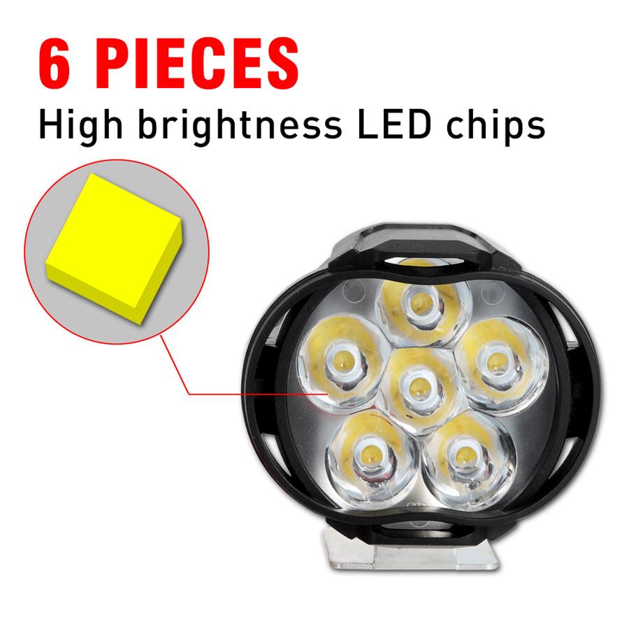 2x U1 Lens LED Motorcycle Headlight Driving Fog Lamp Spot Light Blub+Switch