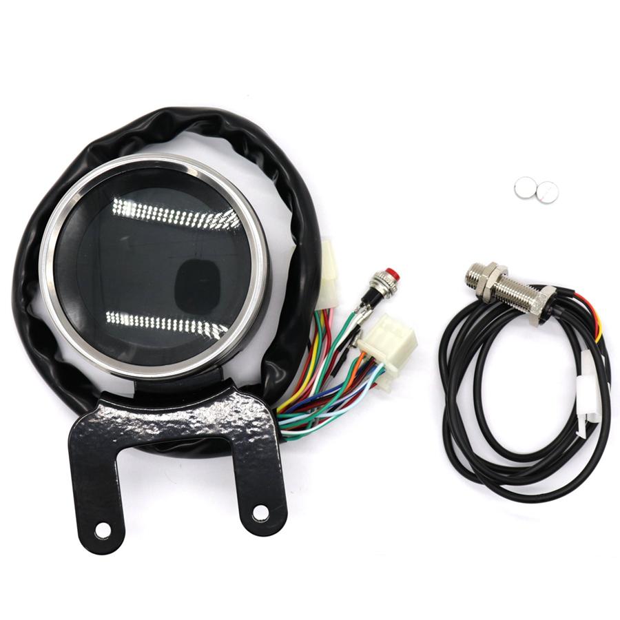 Universal Round Digital Motorcycle Speedometer Odo Tacho