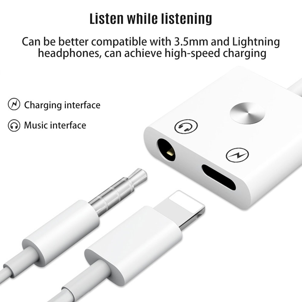 Details about 2 in 1 Dual Adapter for iPhone 7/8/Plus/X Audio Cable Charge  Headphone Splitter