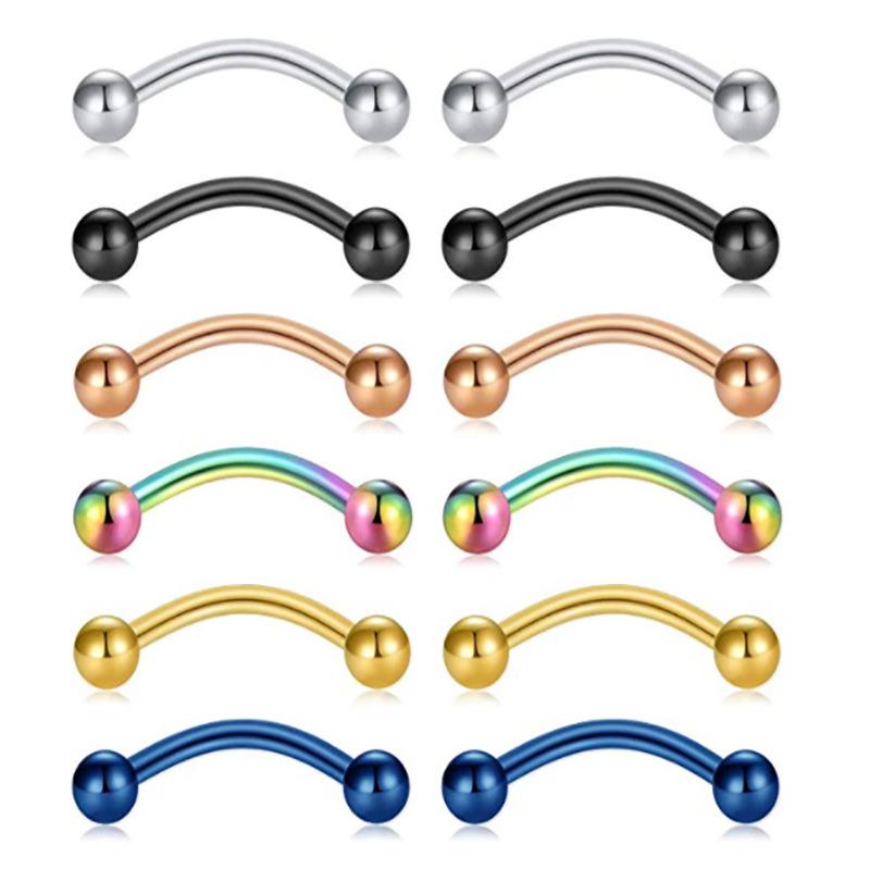 6 12pcs Barbell Lip Ring Nose Hoop Body Eyebrow Ear Stud Labret