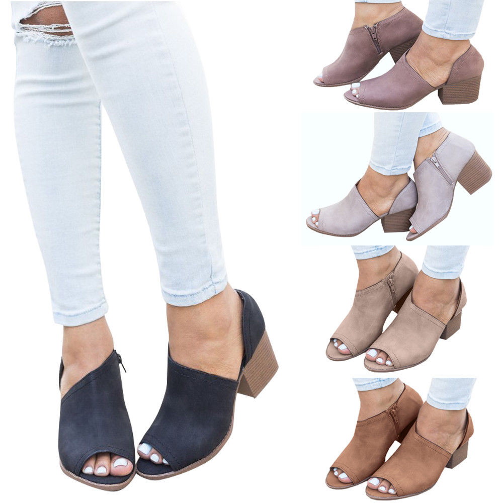 Details about Womens Chunky Peep Toe Sandals Med High Heel Block Zipper Shoes Plus Size Summer