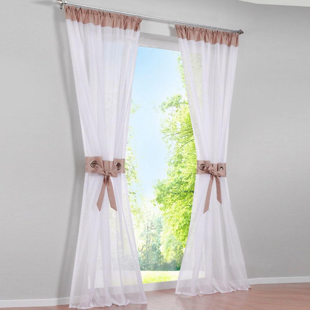 gardinen vorh nge kr uselband wei wohnzimmer deko gardinen schals store ebay. Black Bedroom Furniture Sets. Home Design Ideas