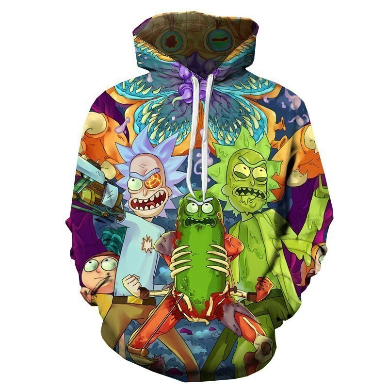 Sketchy Glassyeyed Rick/&Morty Adult Anime Fan Men Women Funny 3d Pullover Hoodie