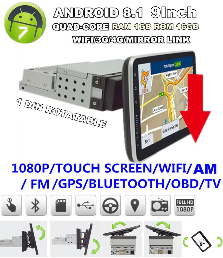 "1 Din Android 8.1 9/"" 1080P Quad-core RAM 1GB ROM 16GB Car Stereo Radio GPS OBD"