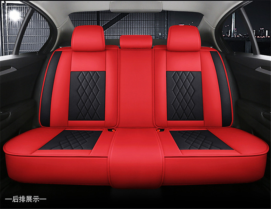 Luxury Black Red Car Seat Covers Protector 5 Seats Universal Full