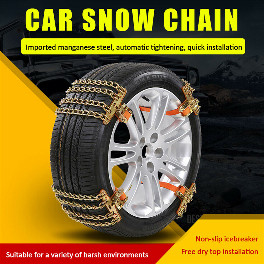 tire chain-cha-6p-2 Nyo Snow Chains Tire Chain for Passenger Cars Snow Wheel Chains for Most Cars SUV ATV Trucks 6 Pack for Universal Tyre Width Anti Slip Emergency Tire Chains