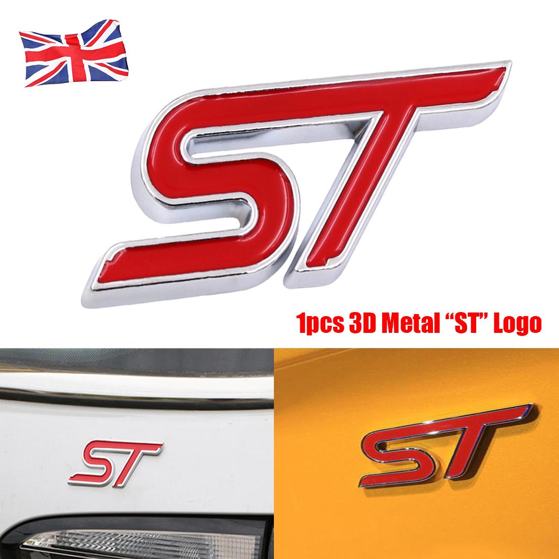 ST Metal Red Boot Wing Tailgate Side Badge Emblem Sticker Focus Fiesta Logo