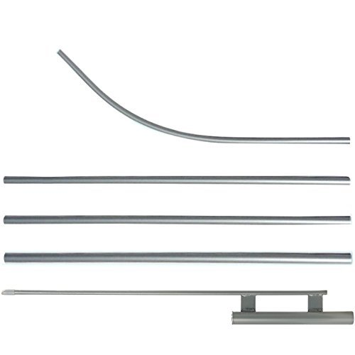 Details about Sliver Swooper Flutter Flag Hardware-ONE 4 Piece Pole Kit  with Ground Spike