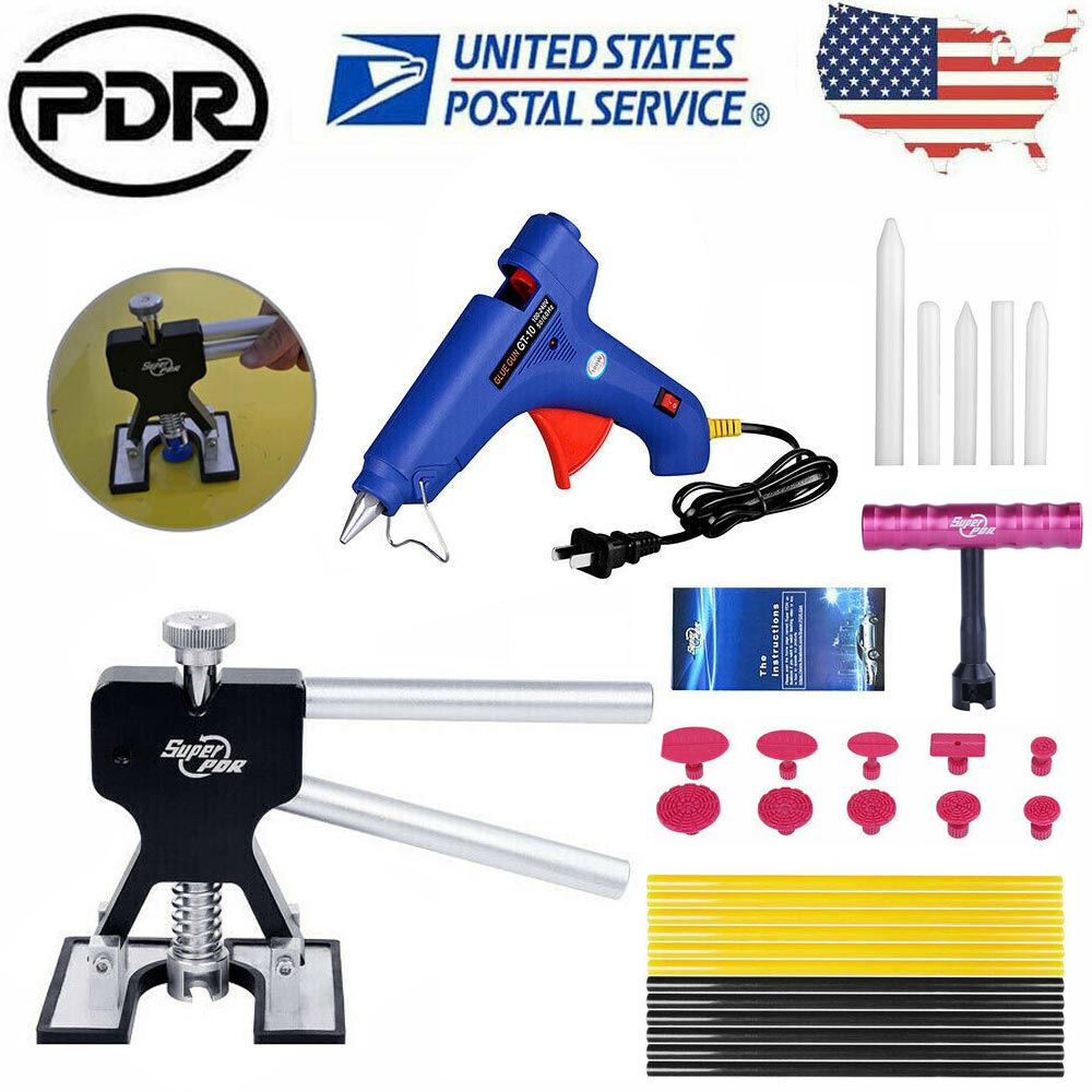 Car Body Paintless Dent Repair Removal /& Glue Gun Tool Puller Lifter T-Bar Kit R