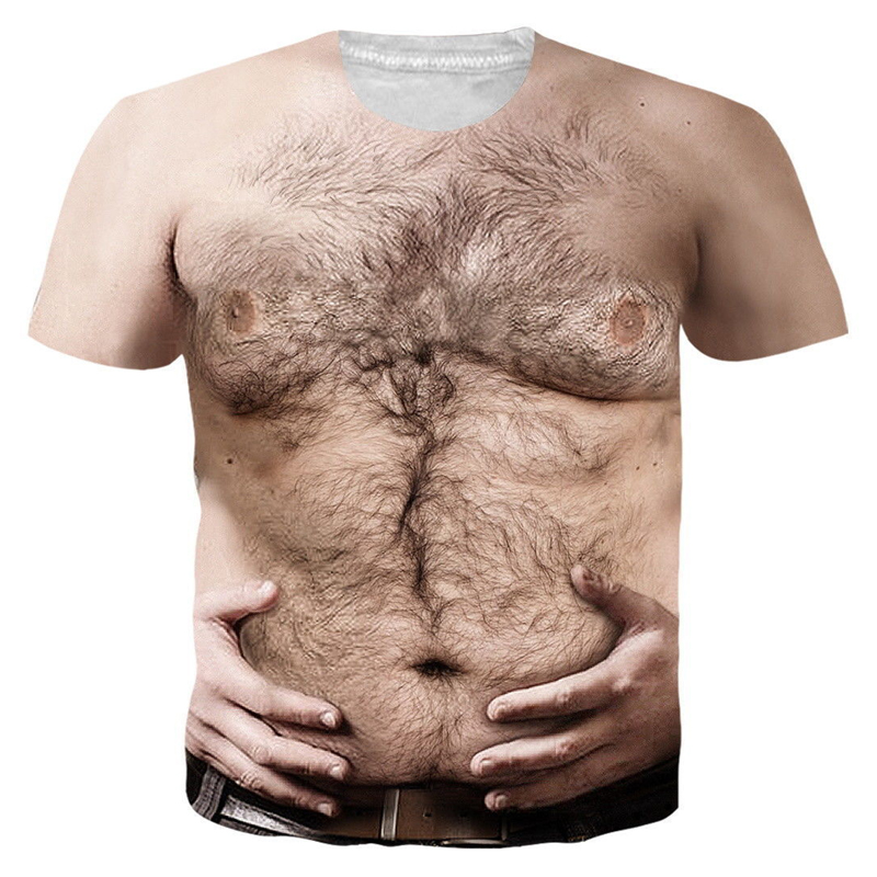 Womens//Mens Funny Chest Hair Muscle 3D Print Casual T-Shirt Tee Short Sleeve T21