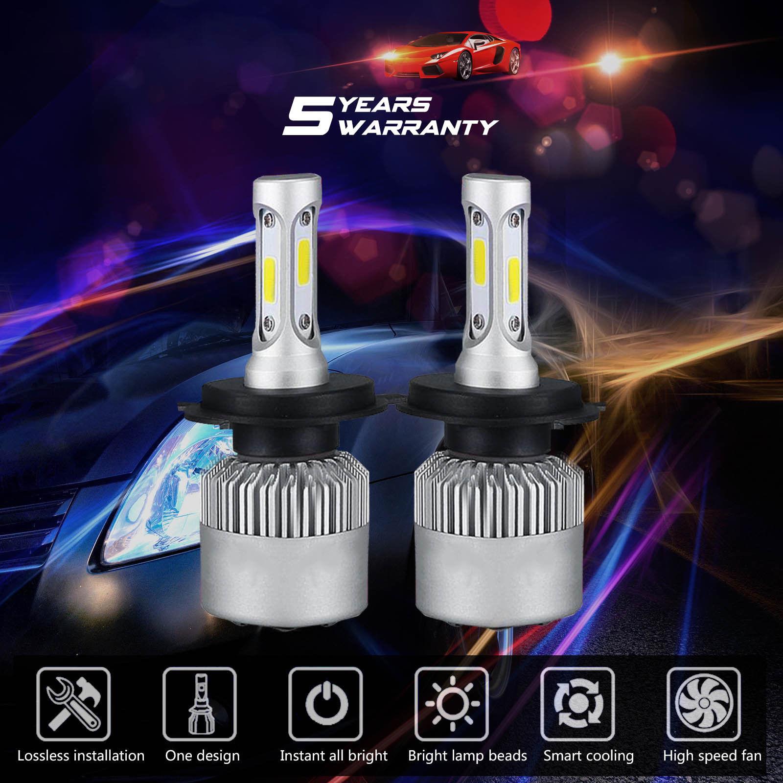 2x H4 8000LM 72W HB2 9003 6000K LED Headlights Kit Conversion High// L Beam Bulbs