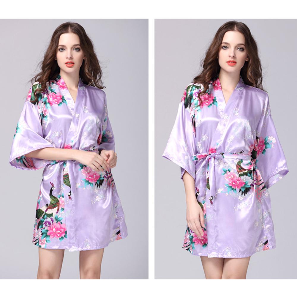 Floral bridal party robes australia : Floral stain robe kimono gown vintage dressing wedding