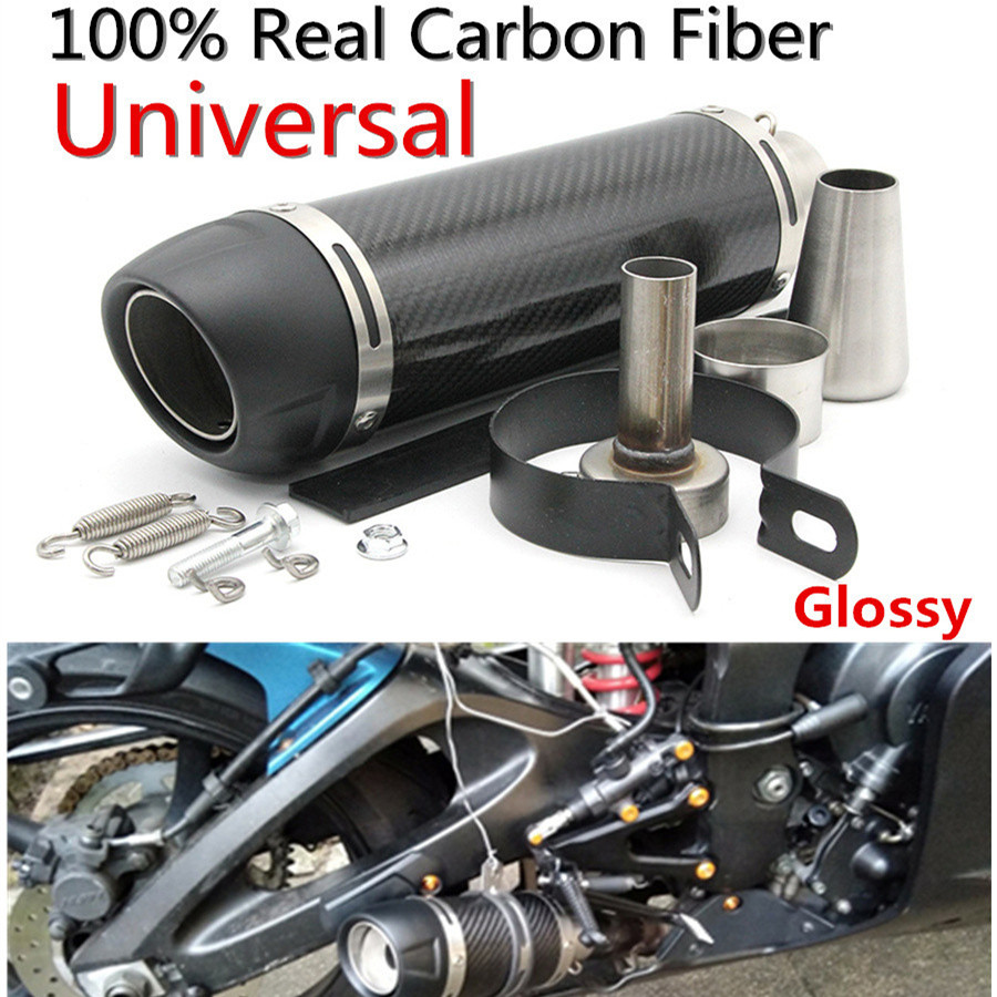 51mm Motorcycle Universal Modified Exhaust Muffler Pipe Slip On Carbon Fiber