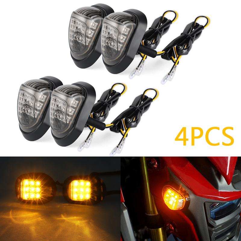 4x Motorcycle LED Turn Signal Indicator Black  Light For Honda Suzuki Yamaha
