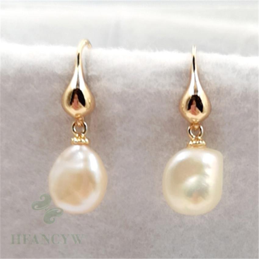 REAL flawless natural 10-12MM HUGE baroque pearl earrings 18K party Mesmerizing