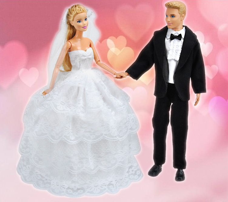 For Ken Doll Barbie Wedding Gown Dress Clothes+Formal Suit Outfit ...