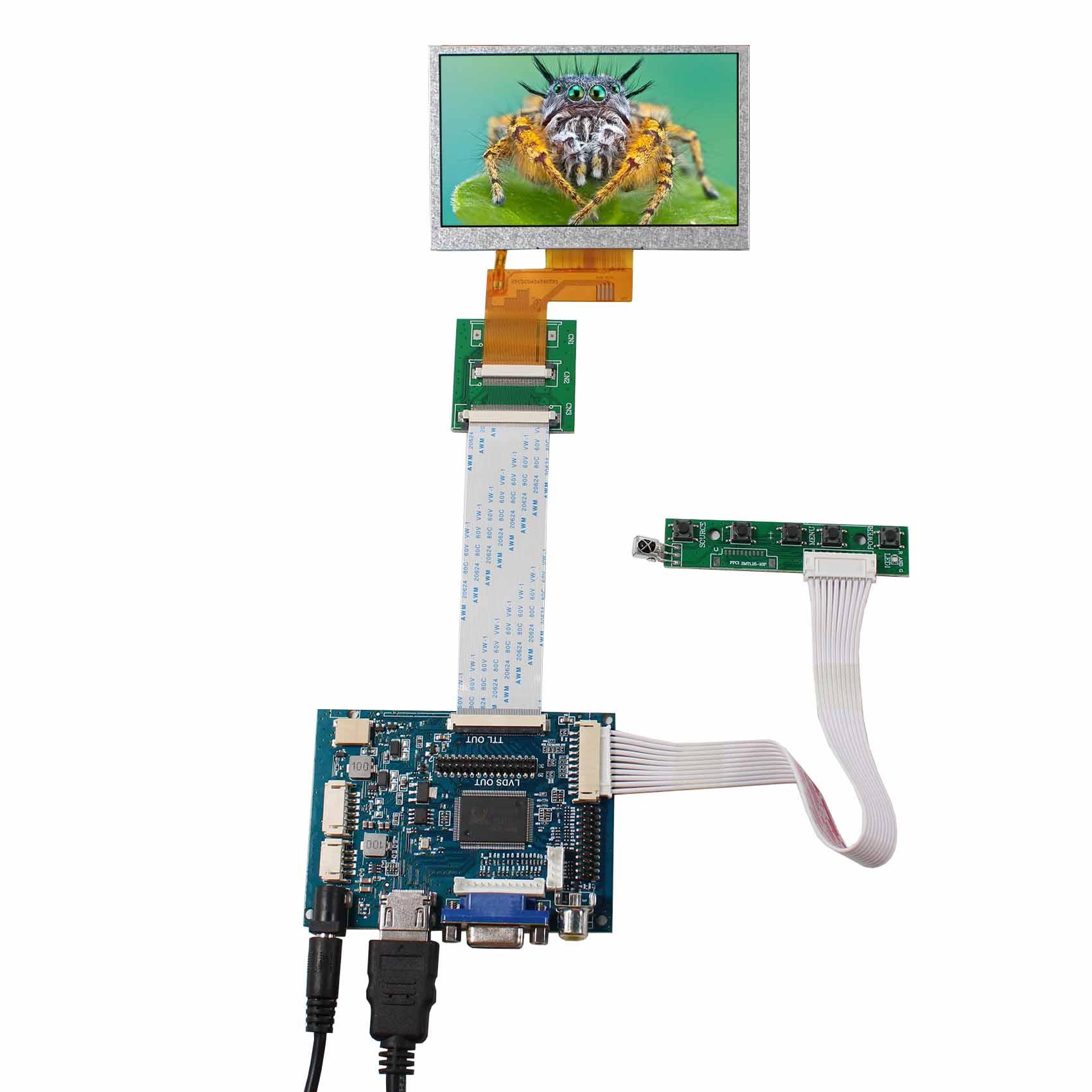 Raspberry PI 4.3 inch 800x480 TFT LCD Display w//HDMI VGA,Video AV Driver Board