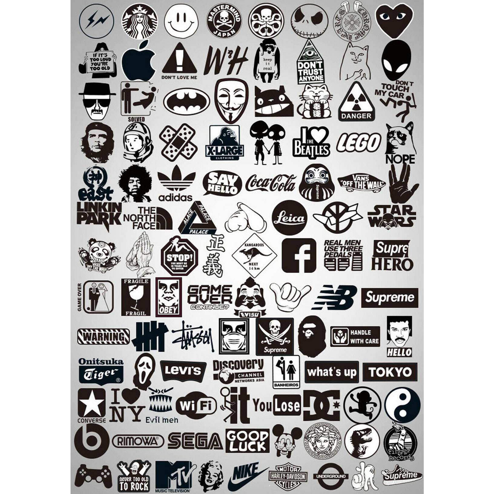 Mix Lot 100 pc Black White Stickers Skateboard Graffiti Laptop Luggage Car Decal
