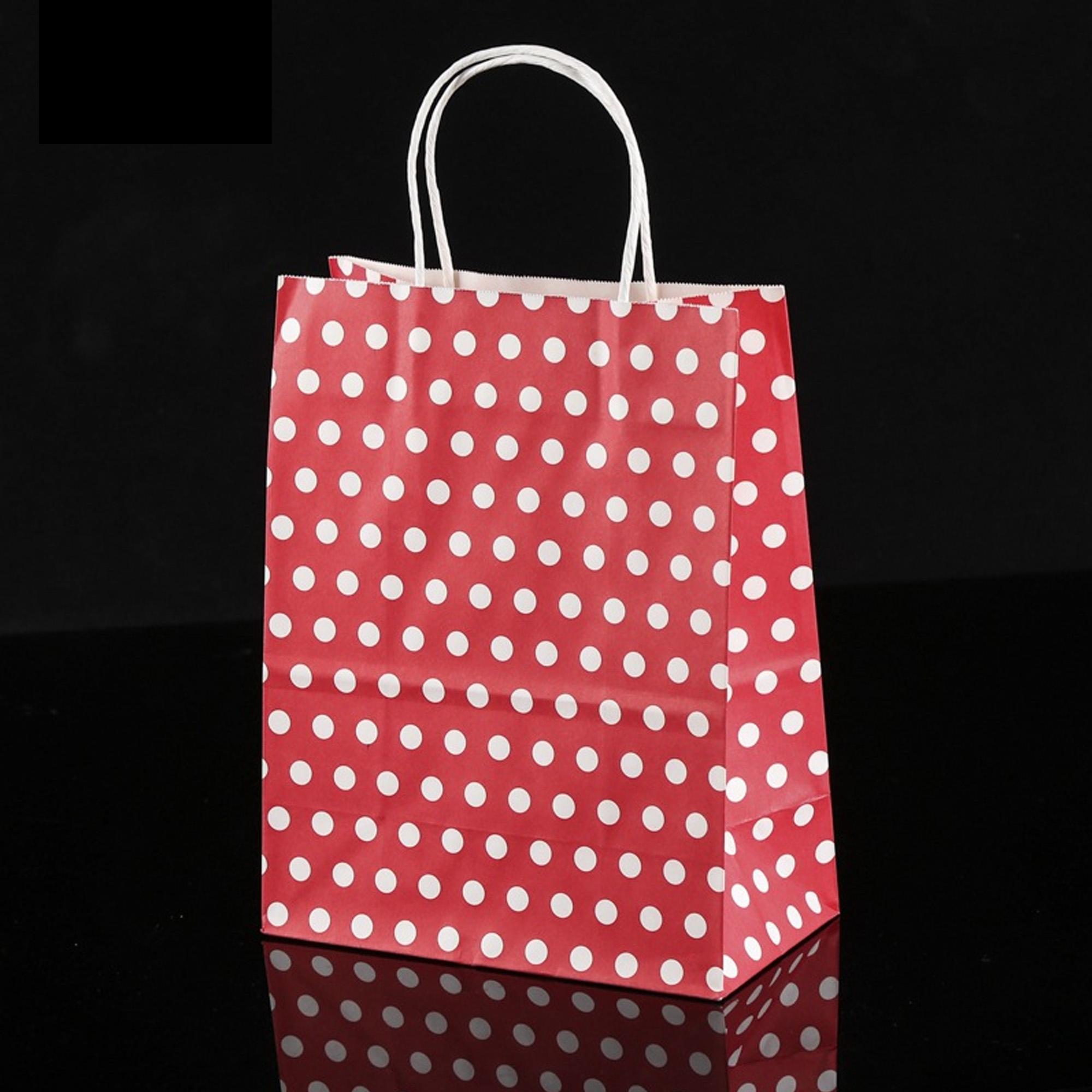 8 27x4 33x10 63in Red Polka Dot Paper Kraft Christmas Gift Ping Bag 12pcs