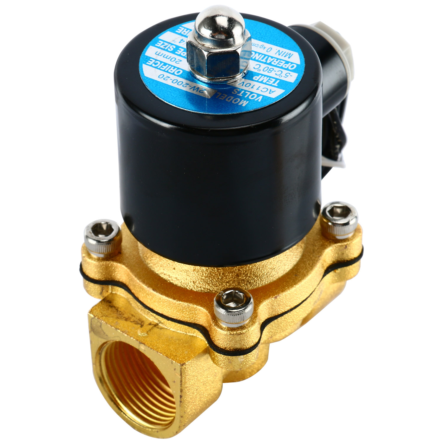 """AC220V 1//2/"""" NPT Brass Electric Solenoid Valve for Water Air Gas Normally Closed"""