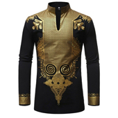 Men Traditional African Dashiki Tribal Casual Blouse Top Shirt Luxury Gold Print