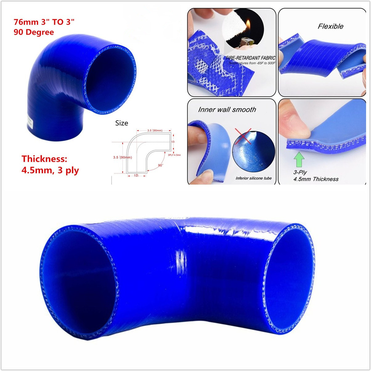 """63-76mm Pipe Coupler Turbo Silicone Hose 90 Degree Elbow Reducer ID:2 1//2-3/"""""""