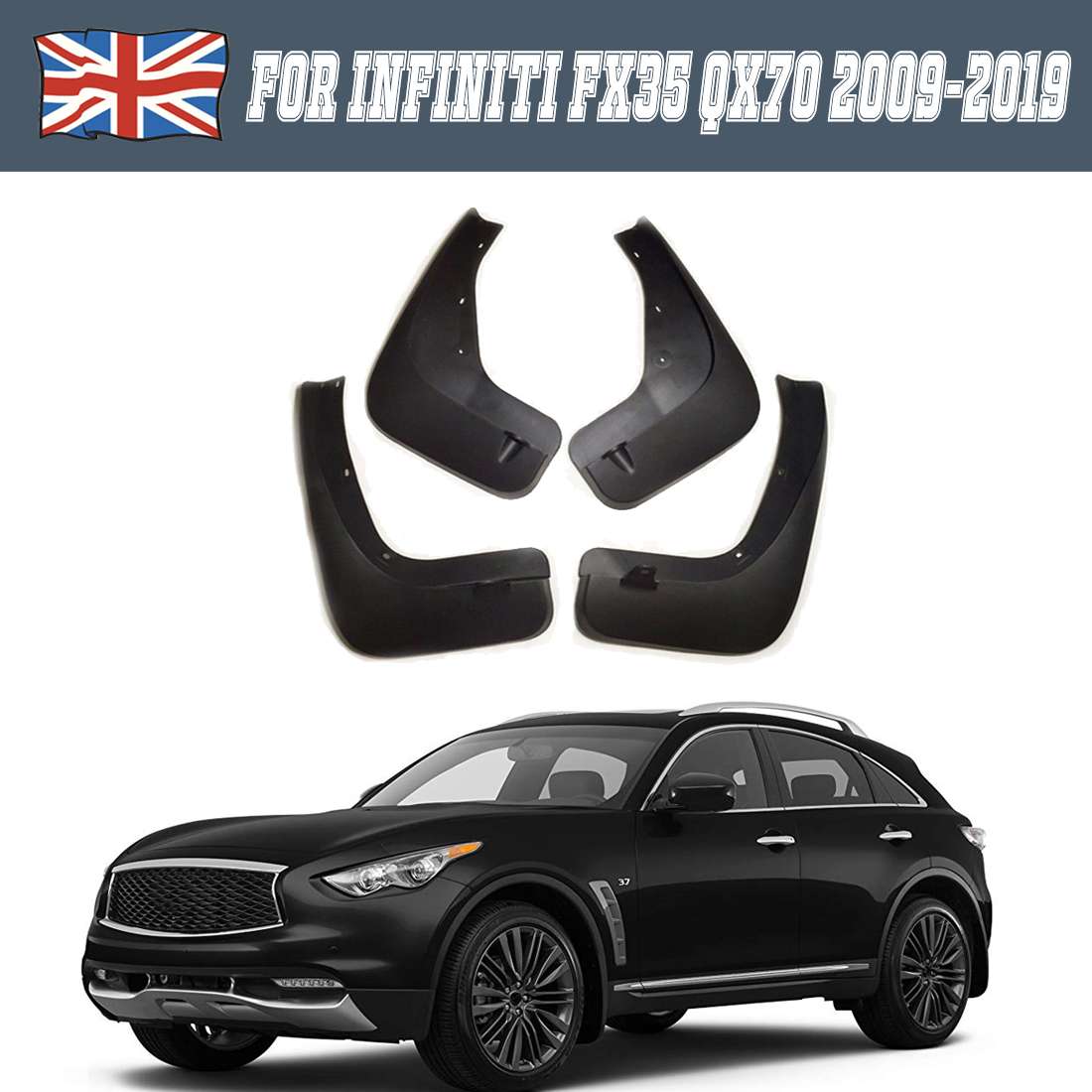 4x Car Mud Flap Splash Guard Fender Mudguard Mudflap For Infiniti QX70 2009-2019