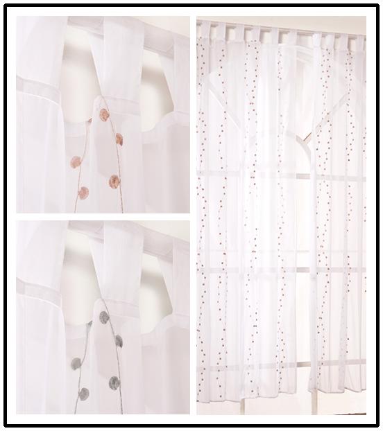 gardinen vorh nge schlaufenschal deko gardinen stores wohnzimmer wei bestickt ebay. Black Bedroom Furniture Sets. Home Design Ideas
