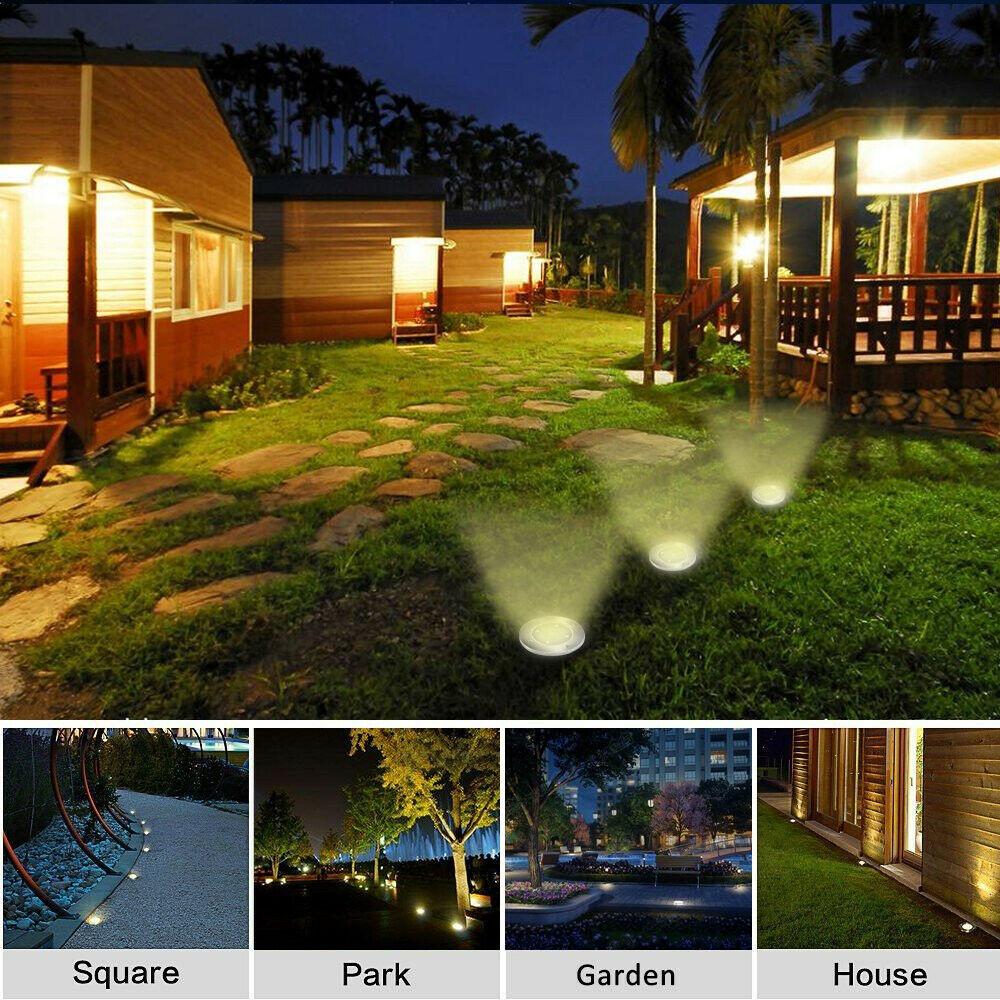 4x LED Solarlampe Bodenstrahler Solarleuchte Solarleuchten 8LEDs Garten Lampe