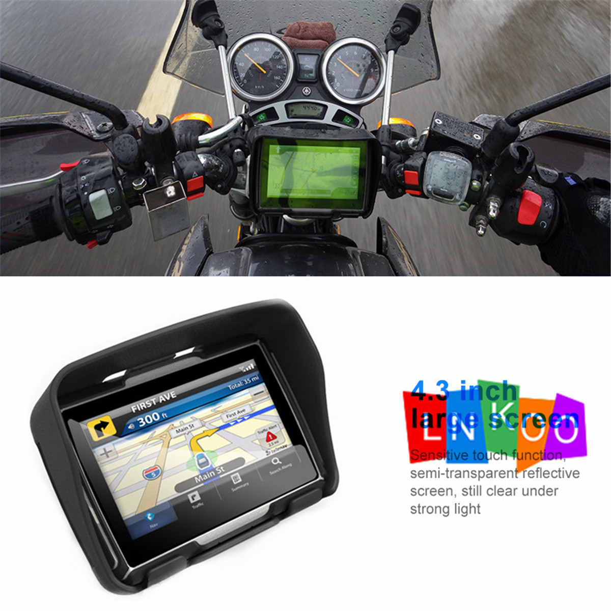 """4.3/"""" BT Waterproof Motorcycle Car GPS Navigation Bluetooth Bike SAT NAV 8GB Maps"""