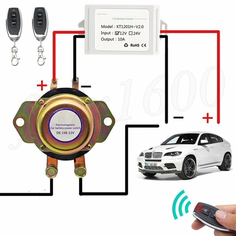 Details about Anti-Theft Car Battery Power Cut Control Main Kill Switch  Immobilizer +2x Remote